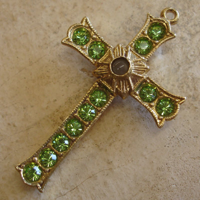 Peridot Birthstone Grotto Cross with stanhope