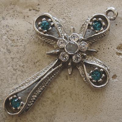 Blue Zircon Swarovski Crystal Stanhope Cross - Sterling Silver Star & Band