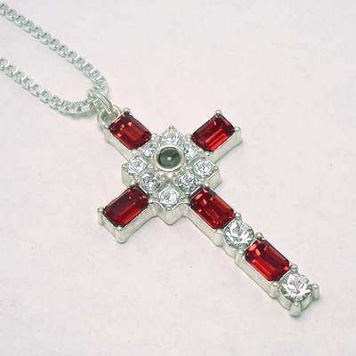 Ruby Birthstone Cross Pendant Necklace